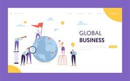 Globales Geschäfts-Führungs-Flaggen-Landungs-Seite Unternehmensgeschäftsmann Search Partnership in der Weltkugel mit Leiter lizenzfreie abbildung