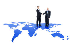 Globales Konzept der partnerschaftlichen Zusammenarbeit von Unternehmen Lizenzfreie Stockfotografie