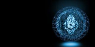 Globales Konzept Ethereum Glühender binärer Text mit dem Maschendraht, der umgibt, um Verarbeitung blockchain des großen Umfangs  vektor abbildung