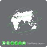 Globales Logistiknetz Graue ähnliche Weltkarte Stellen Sie Ikonentransport und -logistik ein Lizenzfreie Stockfotos