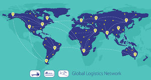 Globales Logistiknetz, Karte der Welt Stockfotografie