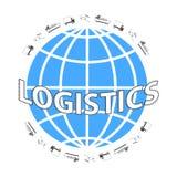 Globales Logistiknetz Stellen Sie Ikonen ein: LKW, Flugzeug, Frachtschiff Transport über Welt Stockfotografie