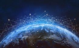 Globales Netzwerk über der Planet Erde Blockchain stockfotos