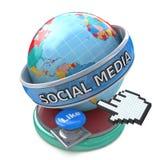 Globales Social Media und Knopf mögen Begriffstechnologie Lizenzfreies Stockfoto