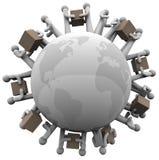 Globales Verschiffen, das Versand um Welt empfängt Lizenzfreies Stockbild