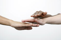 Globalisation. Three hands - a symbol for Teamwork and friendship royalty free stock photography