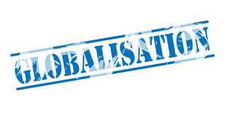 Globalisation blue stamp. On white background Stock Photography