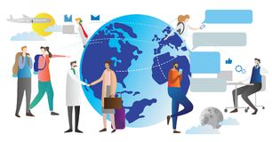 Free Globalisation Vector Illustration. Scheme How World Connection Community Works. People Talking And Chatting All Around The Globe. Stock Photos - 123837263