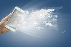 Globalisering of de Sociale achtergrond van het netwerkconcept met nieuw gen stock afbeelding