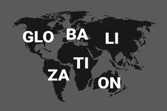 Globalisering en geglobaliseerde wereld vector illustratie