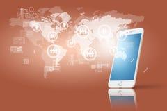 Globalisering of Sociaal netwerkconcept met nieuwe generatie van mobiele telefoon royalty-vrije stock fotografie