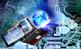 Globaliseringdatateknik Kommunikation royaltyfria bilder