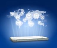 Globalisierungs- oder Netzkonzepthintergrund mit neuem Gen Lizenzfreies Stockfoto