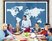 Globalización Co internacional de la cartografía del negocio global del mundo fotos de archivo