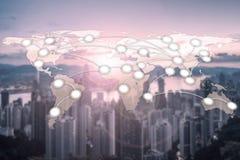 Globalización de la cartografía de la red global del mundo con Hong Kong Ci Imagen de archivo