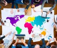 Globalización global International Concept de la cartografía del mundo Imagen de archivo libre de regalías