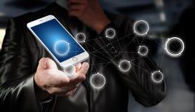 Globalización o concepto social de la red con la nueva generación de teléfono móvil Imagen de archivo libre de regalías