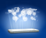 Globalización o fondo social del concepto de la red con el nuevo gen Foto de archivo libre de regalías