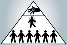 globalizacja Chowani ludzie zarządzań Mężczyzna kukła nowy porządek świata ilustracja wektor