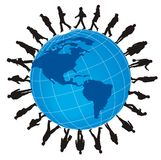 Globalization. People go on the globe stock illustration
