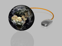 Globalization - 3D - isolated. Design element - Globalization - Computer mouse with globe - isolated - 3D stock illustration