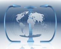 Globalization. World map - globalization and distribution channels royalty free illustration