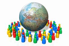 Globalization. Color figures and the globe - yet another globalization metaphor Stock Image