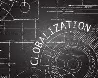 Globalization Blackboard Machine. Globalization word on blackboard technical drawing background illustration Royalty Free Stock Photography