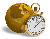 Globalization concept. Golden stopwatch and globe isolated over white Royalty Free Stock Images