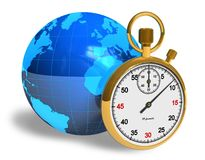 Globalization concept. Blue Earth globe with golden stopwatch isolated over white background Stock Images