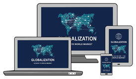 Globalization concept on different devices Stock Images