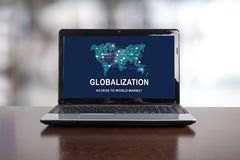Globalization concept on a laptop. Screen royalty free stock image