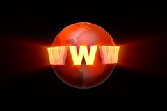 Globalization. Creation and promotion of the website. 3D illustr Royalty Free Stock Photo