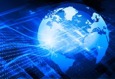Globalization of fiber optics. Digital world ,  global internet technology Stock Images