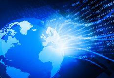 Globalization of fiber optics. Digital world ,  global internet technology Stock Photography
