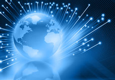 Globalization of  fiber optics. Globe with fiber optic Royalty Free Stock Images