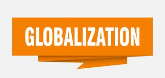 Globalization. Sign.  paper origami speech bubble.  tag.  banner royalty free illustration