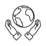 Globalization in hands linear icon, sign, symbol, vector on isolated background. Globalization in hands line icon, sign, symbol, vector on isolated background Royalty Free Stock Photo