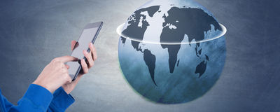 Globalization. Hands with mobile tablet, globalization Royalty Free Stock Photography