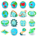 Globalization icons set, cartoon style Royalty Free Stock Photography