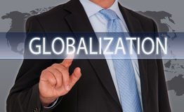 Globalization - Manager with touchscreen royalty free stock images