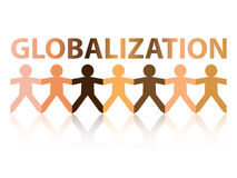 Globalization Paper People. Globalization cut out paper people chain in different skin tone colors Royalty Free Stock Photo