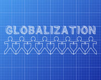 Globalization People Blueprint. Globalization hand drawn text and cut out paper people chain on blueprint background Stock Photo