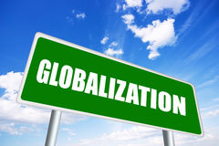 Globalization sign. Over blue sky Stock Image