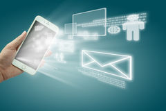 Globalization or Social network concept with new generation of mobile phone Stock Photography