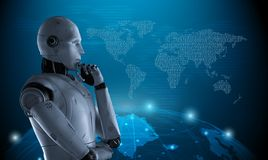 Globalization technology concept. With 3d rendering robot with world map display stock illustration