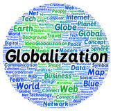 Globalization word cloud shape Stock Photos