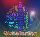 Globalization Wordcloud. Words in a wordcloud of globalization vector illustration