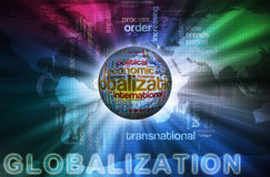 Globalization Wordcloud. Illustration of globalization concept. Words in the wordcloud related to globalization vector illustration
