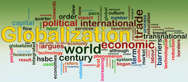 Globalization Wordcloud. Words in a wordcloud of globalization royalty free illustration